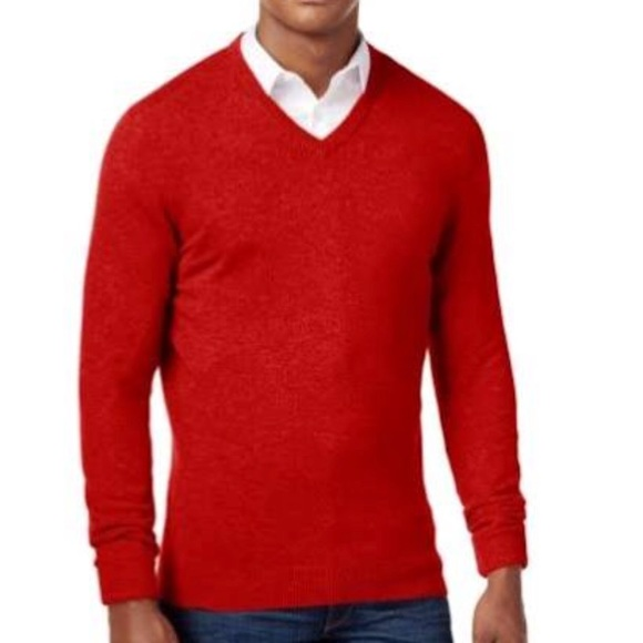 Club Room Mens Red V Neck Cashmere Sweater